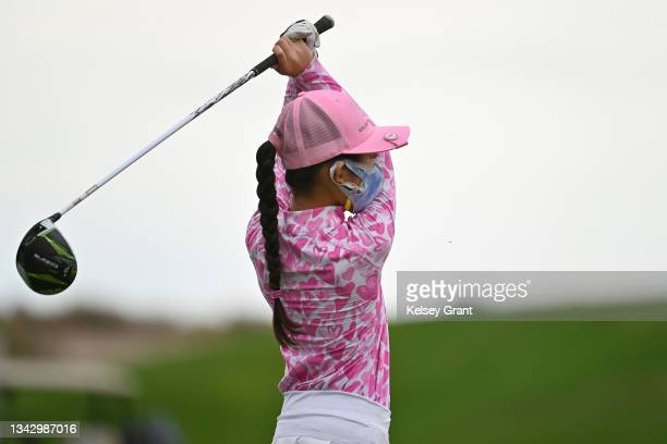 Khloe Kumamoto of the girls 7-9 category attempts a drive during the 2021 Drive, Chip and Putt Regional Qualifier at TPC Scottsdale on September 26,...
