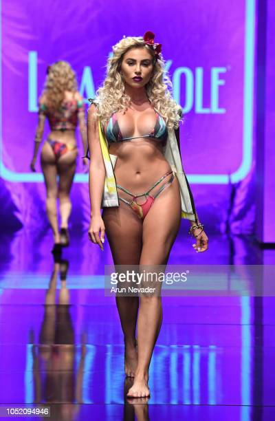 Khloe Terae walks the runway wearing Lila Nikole at Los Angeles Fashion Week Powered by Art Hearts Fashion LAFW SS/19 at The Majestic Downtown on...