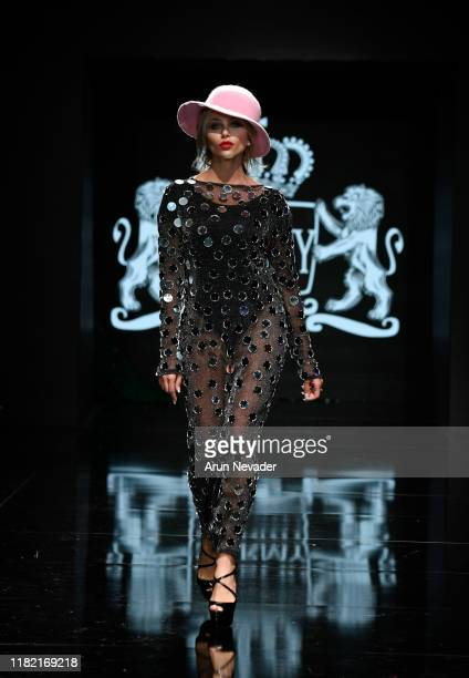 Khloe Terae walks the runway wearing Sarmy during Los Angeles Fashion Week SS/20 Powered by Art Hearts Fashion on October 19 2019 in Los Angeles...