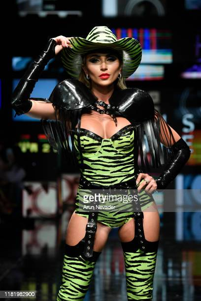 Khloe Terae walks the runway wearing Venus Prototype during Los Angeles Fashion Week SS/20 Powered by Art Hearts Fashion on October 18 2019 in Los...
