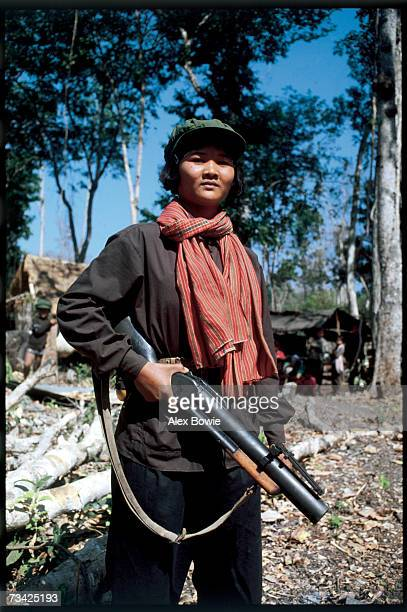 A Khmer Rouge guerrilla called a Mit Naree armed with an Vietnam era American M75 grenade launcher seen in the Chardanrom Mountains region of...