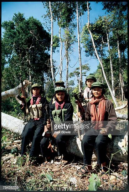 Khmer Rouge guerrillas called Mit Naree armed with an Vietnam era American M75 grenade launcher seen in the Chardanrom Mountains region of Democratic...