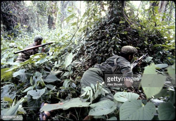 Khmer Rouge guerrillas in the jungle of western Kampuchea north of Pailin in the Cardamom Mountains region as they attempt to halt advancing...