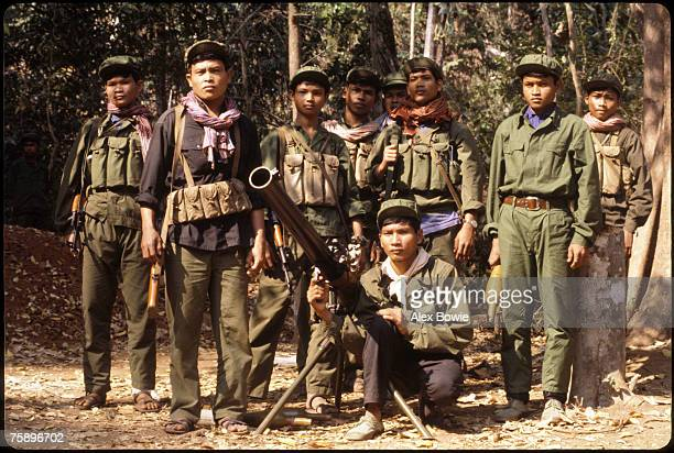 Khmer Rouge guerrillas with a 75mm recoilless rifle in the Cardamom Mountains of western Cambodia 14th February 1981