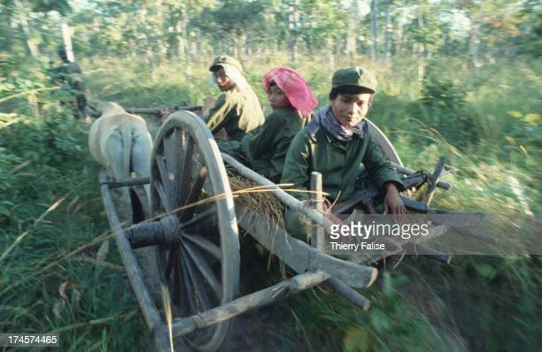 Khmer Rouge soldiers travelling by ox cart