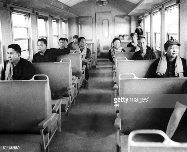Khmer Rouge's executives in a train between Phnom Penh and Sihanouk Ville in Cambodia in 1975 Ta Mok Pol Pot Nuon Chea and Ieng Sary