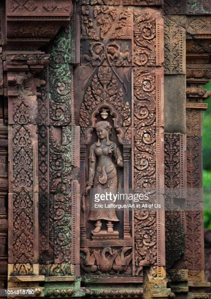 Khmer statue in Banteay Srei temple Siem Reap Province Angkor Cambodia on July 26 2006 in Angkor Cambodia