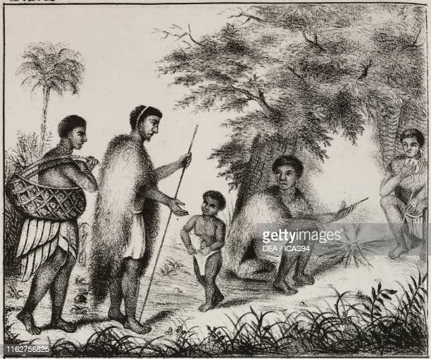 Khoikhoi camp near the Orange River Africa lithograph from Galleria universale di tutti i popoli del mondo ossia storia dei costumi religioni riti...