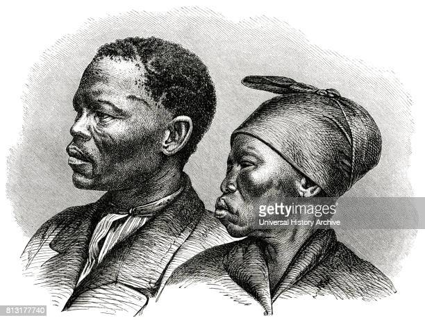 Khoikhoi Chieftain Jon Afrikaner and Wife Africa Illustration 1885
