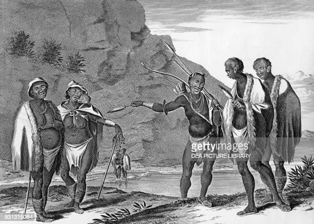 Khoikhoi men and women Africa illustration from Voyages by Johann Albrecht von Mandelslo Amsterdam 1727