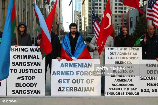 Khojaly Massacre is protested during its 26th anniversary at the Michigan Avenue in Chicago United States on February 25 2018 The massacre on...