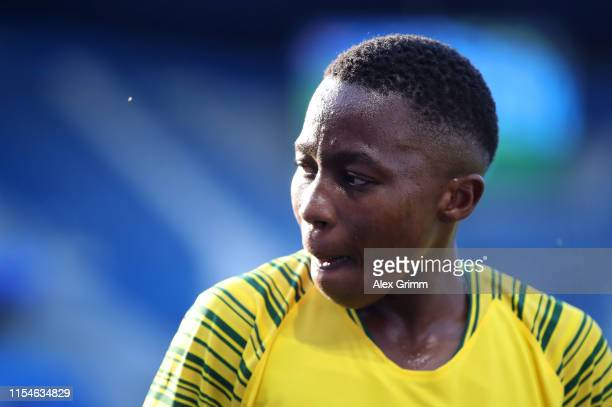 Kholosa Biyana of South Africa looks on during the 2019 FIFA Women's World Cup France group B match between Spain and South Africa at Stade Oceane on...