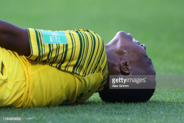 Kholosa Biyana of South Africa reacts during the 2019 FIFA Women's World Cup France group B match between Spain and South Africa at Stade Oceane on...