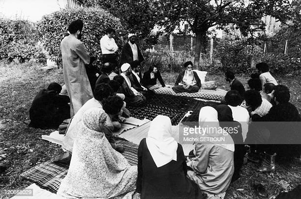 Khomeyni in Neauphle Le Chateau France in October 1978 In the park from his home in NeauphleleChateau Ayatollah Khomeini Imam of the opponents of the...