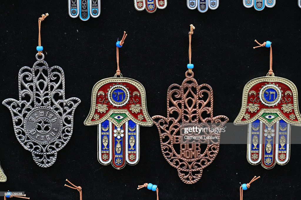 Khomsa. The Hand of Fatima. The hamesh hand or hamsa hand is a popular motif in Jewish jewelry. : Stock Photo