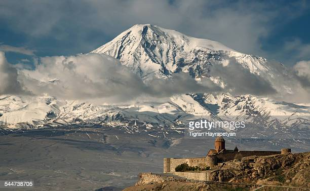 khor virap monastery and mt ararat - armenian genocide stock pictures, royalty-free photos & images