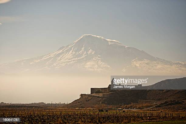 Khor Virap monastery with Mount Ararat behind