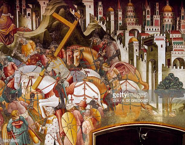 Khosrow II stealing the True Cross scene from the Stories of the Cross by Cenni di Francesco di ser Cenni fresco Chapel of the Holy Cross Church of...