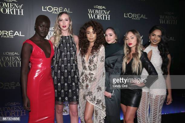 Khoudia Diop Carly Cristman Symphani Soto Maria Alia Liza Lash and Deepica Mutyala attend the L'Oreal Paris Women of Worth Celebration 2017 on...