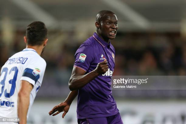 Khouma Babacar oc ACF Fiorentina reacts during the Serie A match between ACF Fiorentina v FC Internazionale at Stadio Artemio Franchi on April 22...