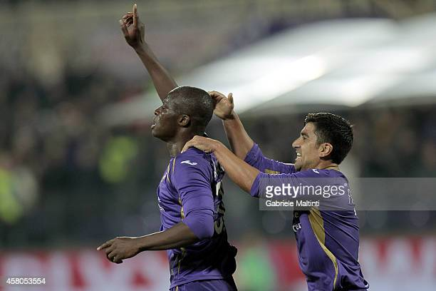 Khouma Babacar of ACF Fiorentina celebrates after scoring a goal during the Serie A match between ACF Fiorentina and Udinese Calcio at Stadio Artemio...