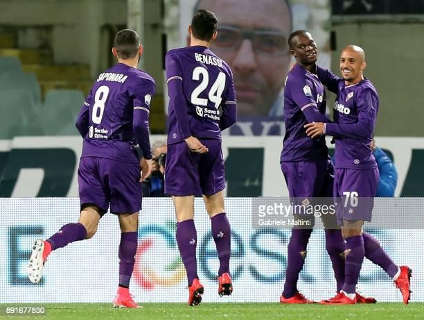 Khouma Babacar of ACF Fiorentina celebrates after scoring a goal during the Tim Cup match between ACF Fiorentina and UC Sampdoria at Stadio Artemio...
