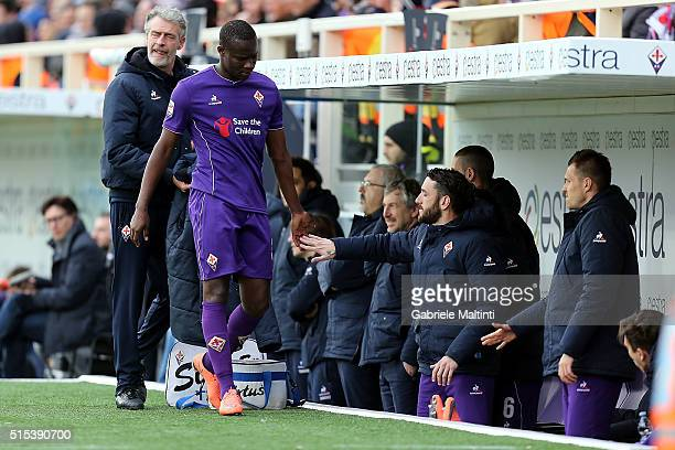 Khouma Babacar of ACF Fiorentina during the Serie A match between ACF Fiorentina and Hellas Verona FC at Stadio Artemio Franchi on March 13 2016 in...