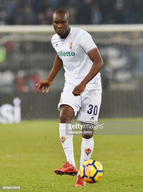 Khouma Babacar of ACF Fiorentina in action during the TIM Cup match between SS Lazio and ACF Fiorentina at Olimpico Stadium on December 26 2017 in...