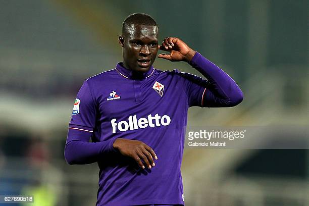 Khouma Babacar of ACF Fiorentina reacts during the Serie A match between ACF Fiorentina and US Citta di Palermo at Stadio Artemio Franchi on December...
