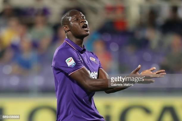 Khouma Babacar of ACF Fiorentina reacts during the Serie A match between ACF Fiorentina and Pescara Calcio at Stadio Artemio Franchi on May 28 2017...