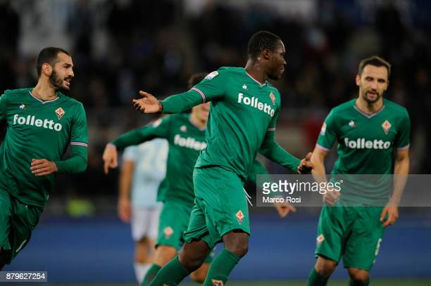 Khouma Babacar of AFC Fiorentina celebrates a frist goal a penalty during the Serie A match between SS Lazio and ACF Fiorentina at Stadio Olimpico on...