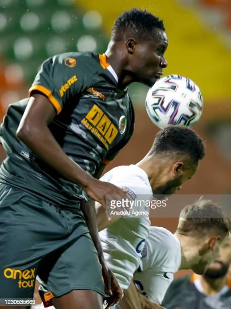 Khouma Babacar of Alanyaspor in action against Isaac Kiese Thelin of Kasimpasa during Turkish Super Lig week 18 soccer match between Aytemiz...