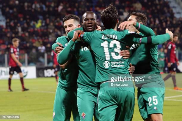 Khouma Babacar of FIorentina celebrates his goal 01 during the serie A match between Cagliari Calcio and ACF Fiorentina at Stadio Sant'Elia on...