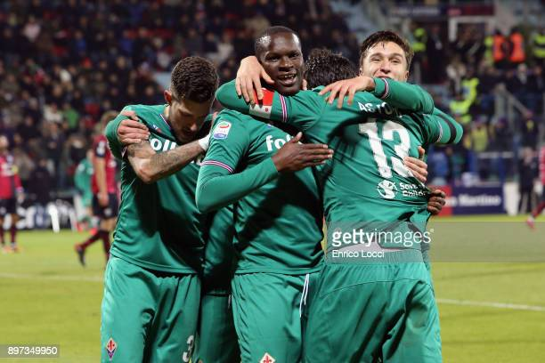 Khouma Babacar of FIorentina celebrates his goal 0-1 during the serie A match between Cagliari Calcio and ACF Fiorentina at Stadio Sant'Elia on...