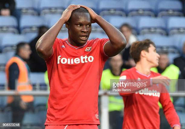 Khouma Babacar of Fiorentina disappointment during the serie A match between UC Sampdoria and ACF Fiorentina at Stadio Luigi Ferraris on January 21...