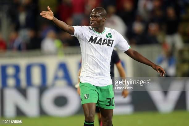 Khouma Babacar of Sassulo looks during the serie A match between Cagliari and US Sassuolo at Sardegna Arena on August 26 2018 in Cagliari Italy