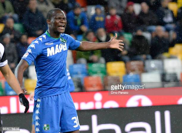 Khouma Babacar of Sassuolo reacts during the serie A match between Udinese Calcio and US Sassuolo at Stadio Friuli on March 17 2018 in Udine Italy