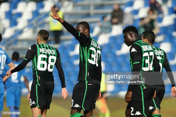 Khouma Babacar of US Sassuolo celebrates after scoring his team's second goal during the Serie A match between US Sassuolo and ACF Fiorentina at...