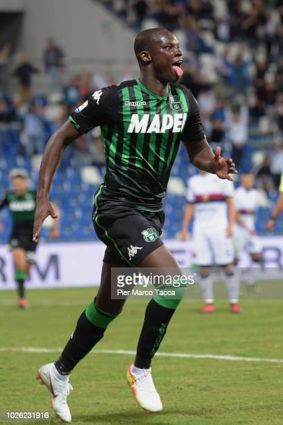 Khouma Babacar of US Sassuolo celebrates his goal during the serie A match between US Sassuolo and Genoa CFC at Mapei Stadium Citta' del Tricolore on...