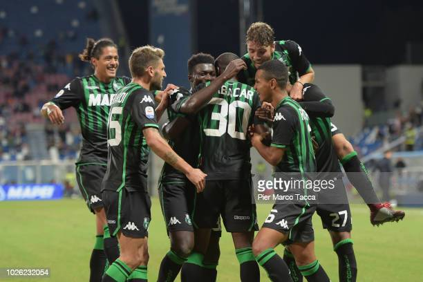 Khouma Babacar of US Sassuolo celebrates his goal with his teammates during the serie A match between US Sassuolo and Genoa CFC at Mapei Stadium -...