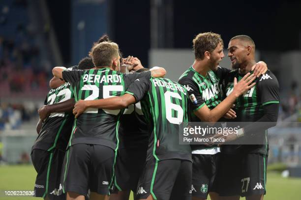 Khouma Babacar of US Sassuolo celebrates his goal with his teammates during the serie A match between US Sassuolo and Genoa CFC at Mapei Stadium...