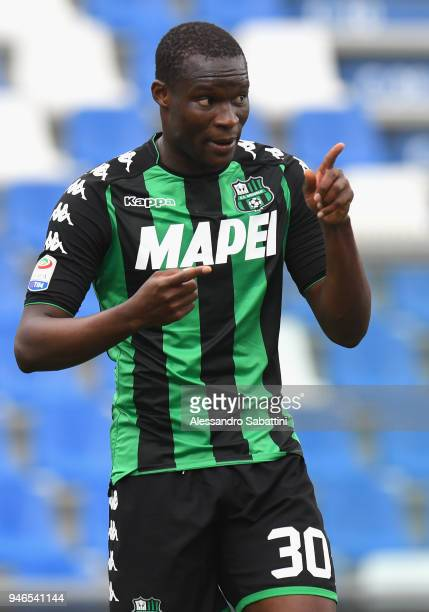 Khouma Babacar of US Sassuolo gestures during the serie A match between US Sassuolo and Benevento Calcio at Mapei Stadium Citta' del Tricolore on...