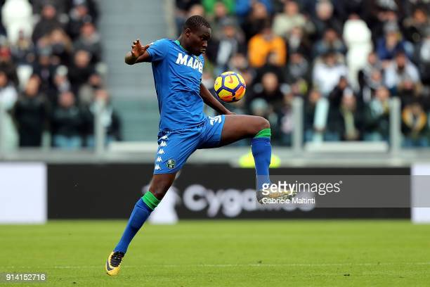 Khouma Babacar of US Sassuolo in action during the serie A match between Juventus and US Sassuolo on February 4 2018 in Turin Italy