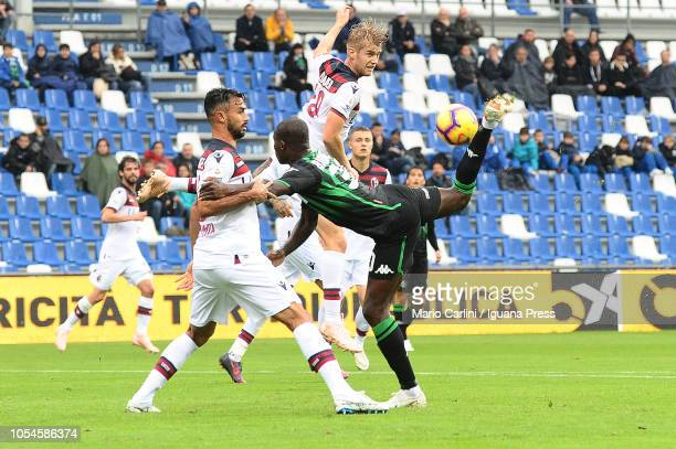 Khouma Babacar of US Sassuolo in action during the Serie A match between US Sassuolo and Bologna FC at Mapei Stadium Citta' del Tricolore on October...