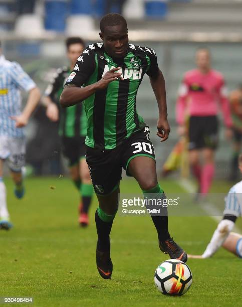 Khouma Babacar of US Sassuolo in action during the serie A match between US Sassuolo and Spal at Mapei Stadium Citta' del Tricolore on March 11 2018...