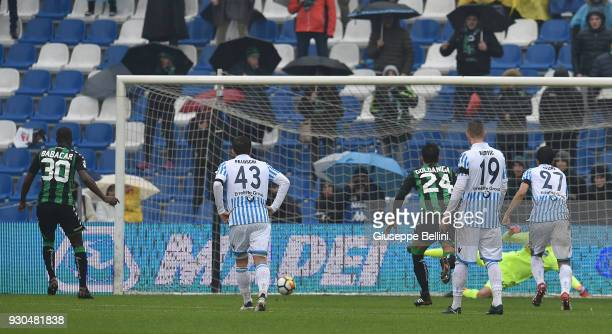 Khouma Babacar of US Sassuolo kicks the penalty and scores goal 11 during the serie A match between US Sassuolo and Spal at Mapei Stadium Citta' del...