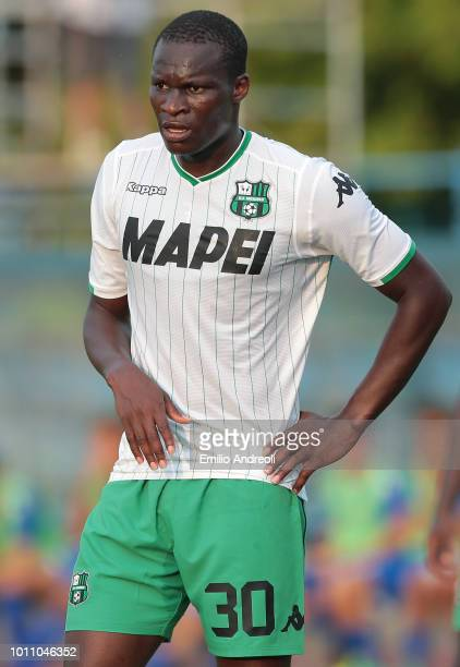 Khouma Babacar of US Sassuolo looks on during the Sportitalia Cup 2018 tournament match between Folgore Caratese and US Sassuolo on August 4 2018 in...