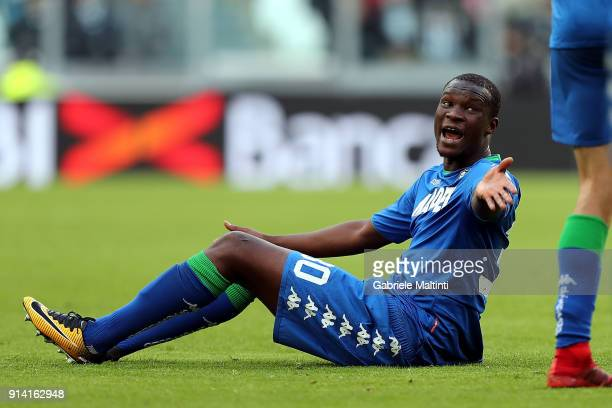 Khouma Babacar of US Sassuolo racts during the serie A match between Juventus and US Sassuolo on February 4 2018 in Turin Italy