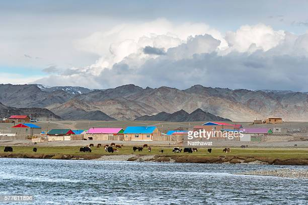 khovd river valley and tsengel village, bayan-olgii province, mongolia - kazakhstan stock pictures, royalty-free photos & images