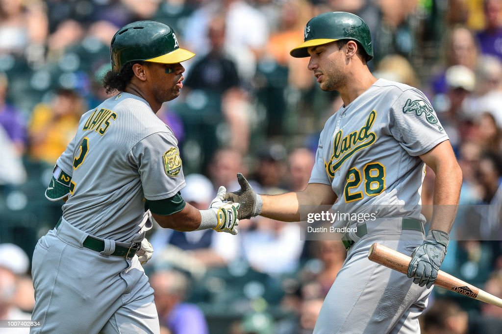 Khris Davis #2 is congratulated by Matt Olson #28 of the Oakland Athletics after a seventh inning solo homerun against the Colorado Rockies during interleague play at Coors Field on July 29, 2018 in Denver, Colorado.